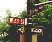 63rd Street sign at Central Park West