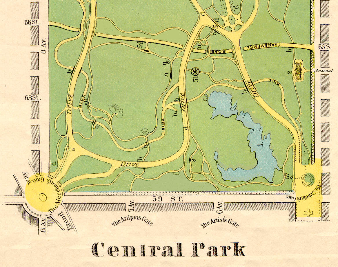 Benjamin Waterhouse Hawkins An Old Map of Central Park New York